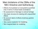 main limitations of the cbas of the nec directive and gothenburg