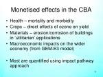 monetised effects in the cba