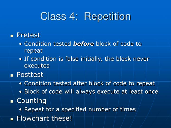 Class 4 repetition