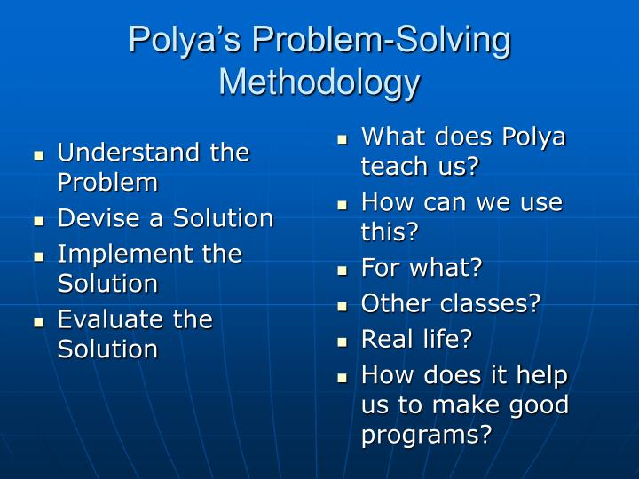 What does Polya teach us?