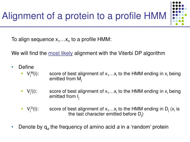 Alignment of a protein to a profile HMM