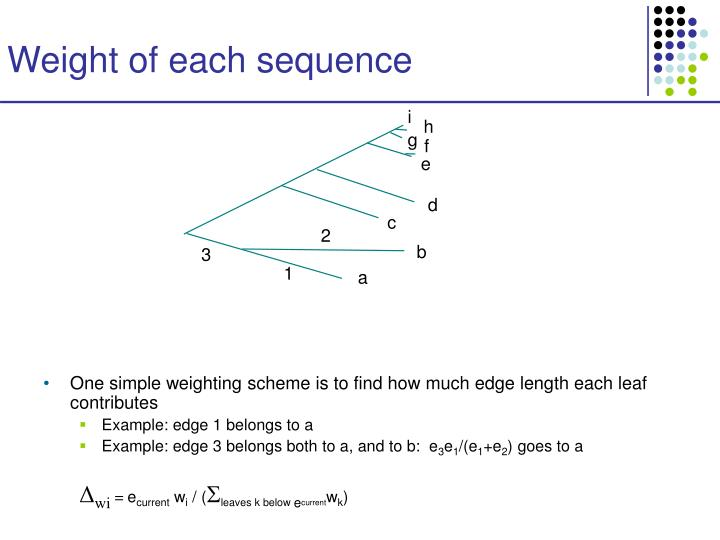 Weight of each sequence