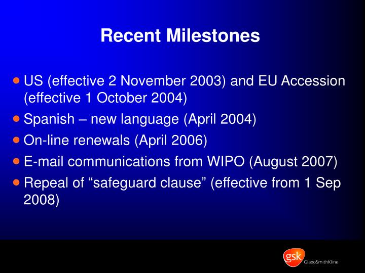 Recent Milestones