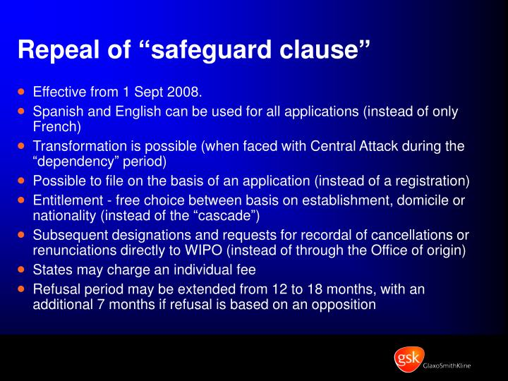 """Repeal of """"safeguard clause"""""""