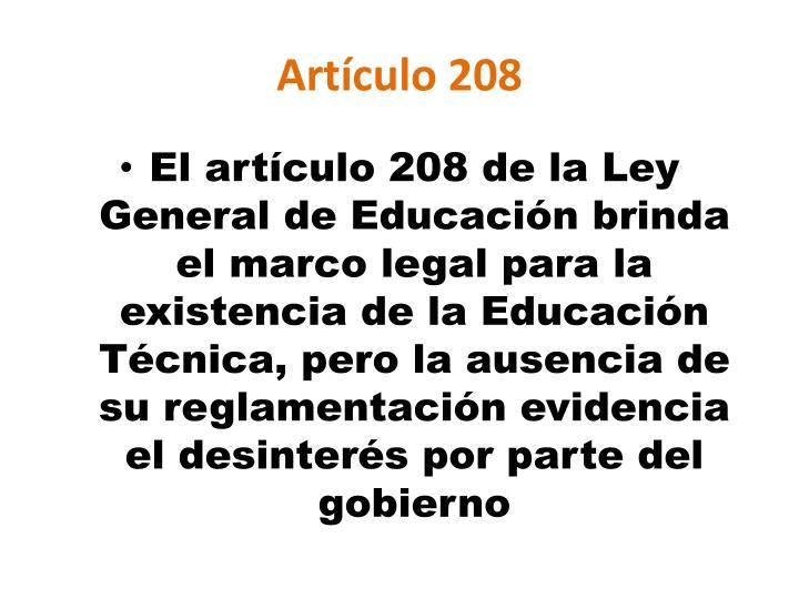 Artículo 208