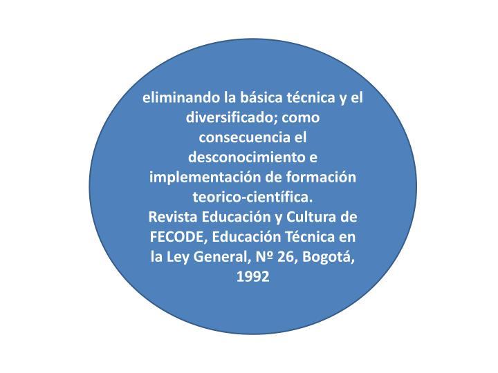 eliminando la básica técnica y el diversificado; como consecuencia el desconocimiento e implementación de formación