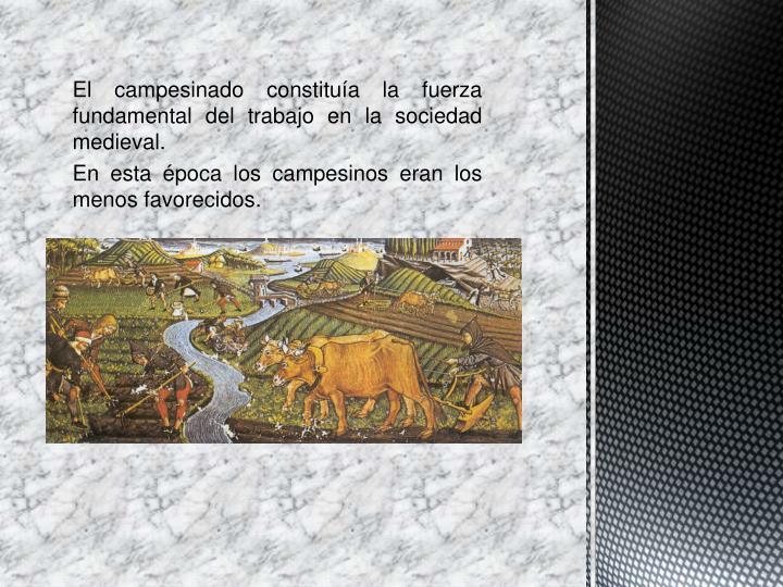 El campesinado constituía la fuerza fundamental del trabajo en la sociedad medieval.