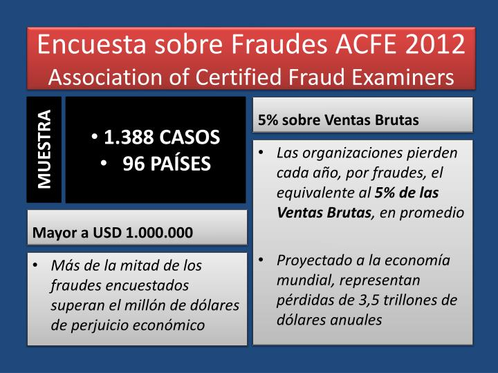 Encuesta sobre fraudes acfe 2012 association of certified fraud examiners