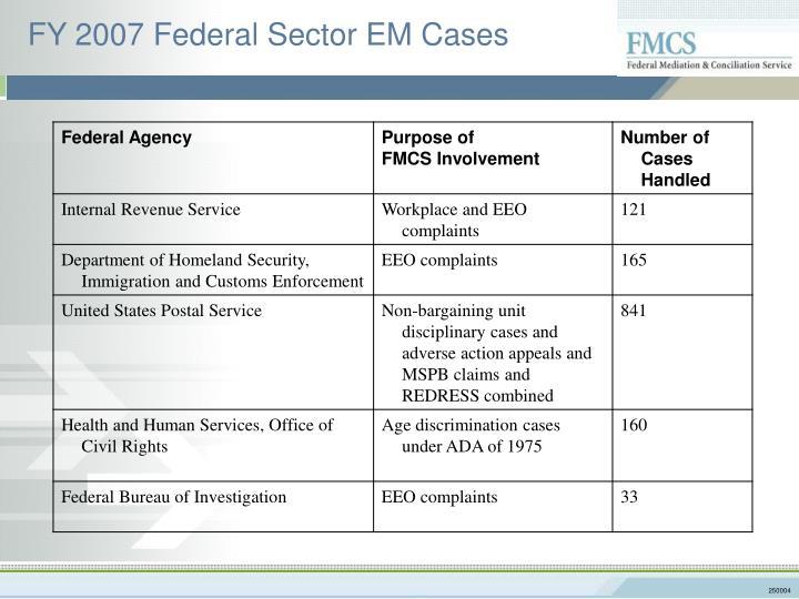 FY 2007 Federal Sector EM Cases