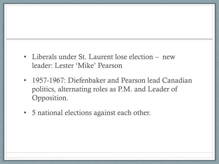 Liberals under St. Laurent lose election –