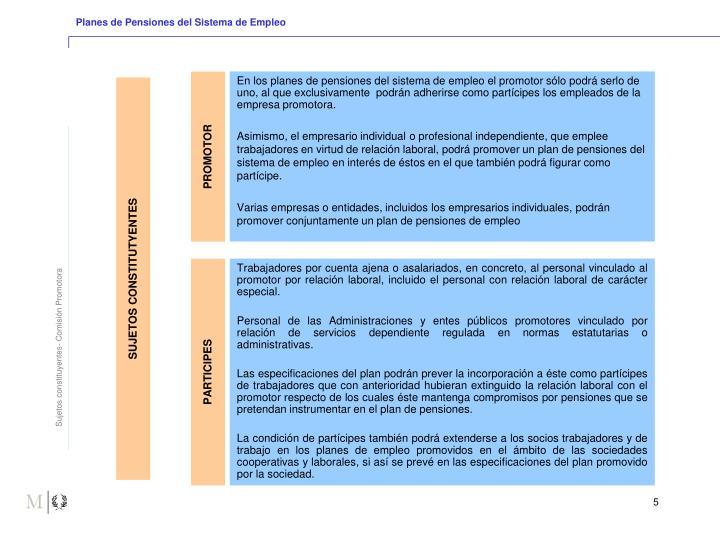 Planes de Pensiones del Sistema de Empleo