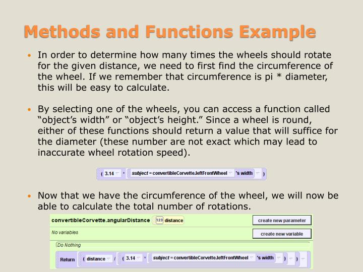 Methods and Functions Example
