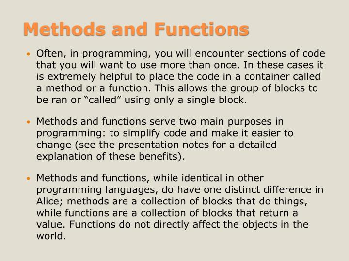 Methods and Functions