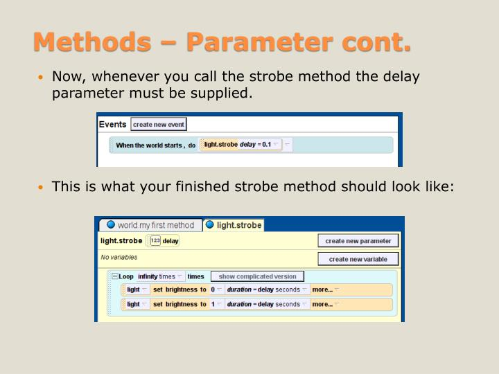 Methods – Parameter cont.