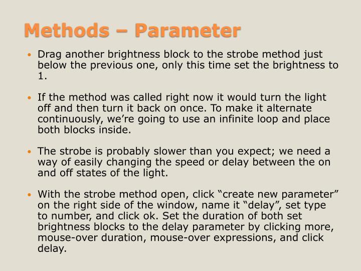 Methods – Parameter