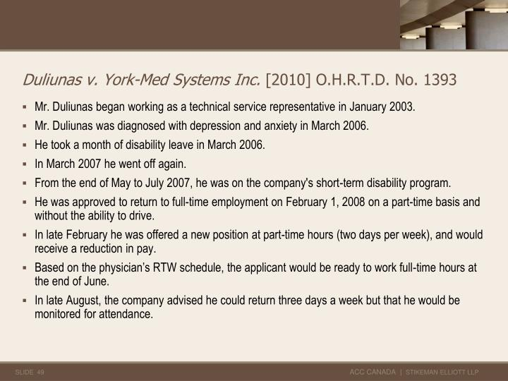 Duliunas v. York-Med Systems Inc.