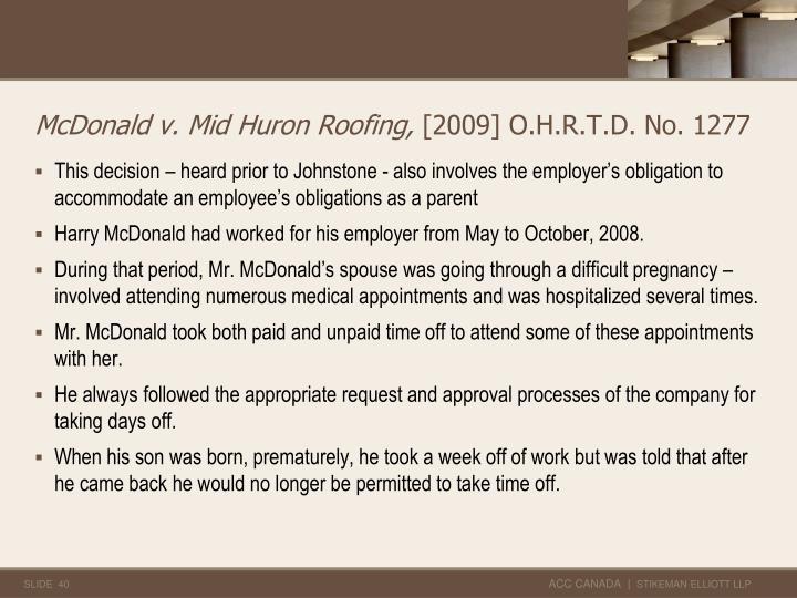 McDonald v. Mid Huron Roofing,