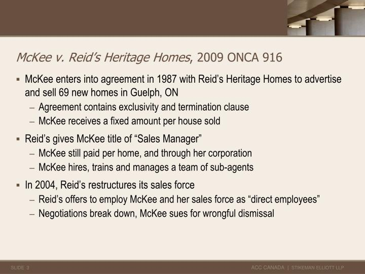 McKee v. Reid's Heritage Homes