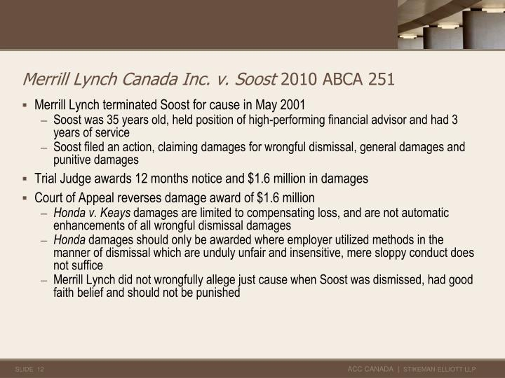 Merrill Lynch Canada Inc. v. Soost