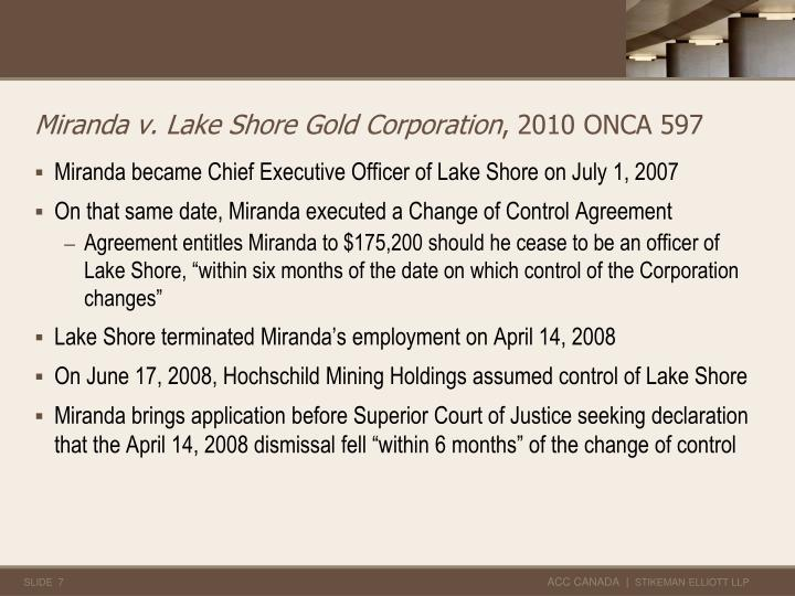 Miranda v. Lake Shore Gold Corporation
