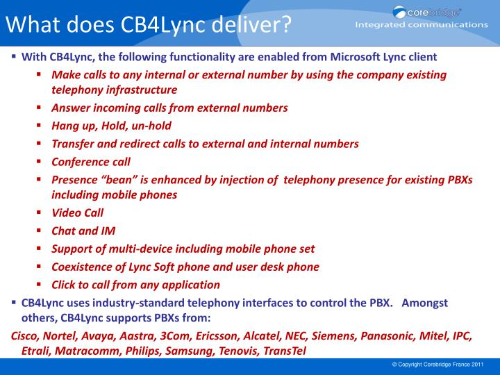 What does CB4Lync deliver?
