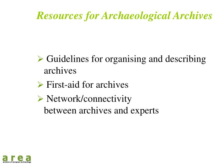 Resources for Archaeological Archives