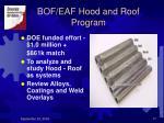 bof eaf hood and roof program