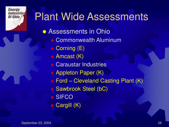 Plant Wide Assessments