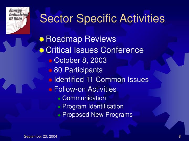Sector Specific Activities