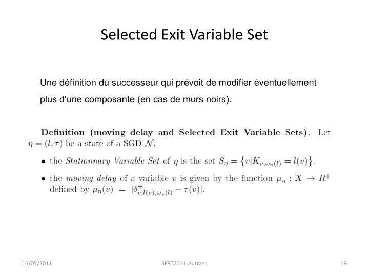Selected Exit Variable Set