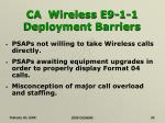 ca wireless e9 1 1 deployment barriers