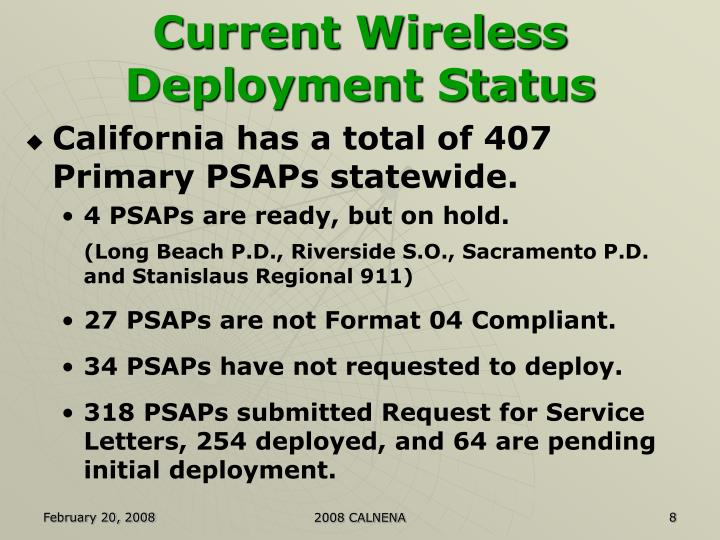 Current Wireless Deployment Status