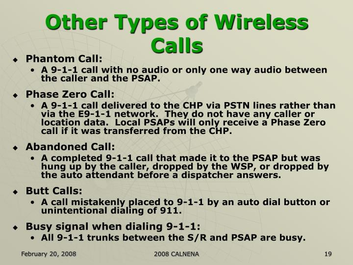Other Types of Wireless Calls