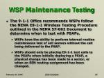wsp maintenance testing