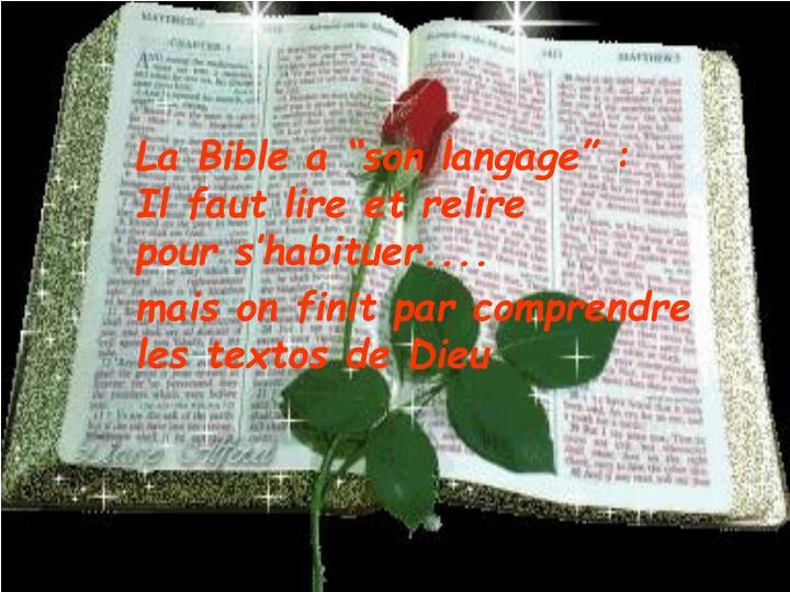 """La Bible a """"son langage"""" :"""