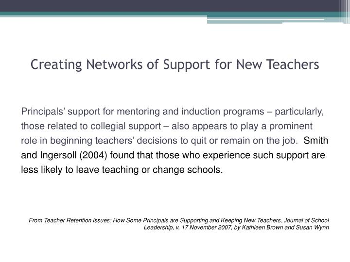 Creating Networks of Support for New Teachers