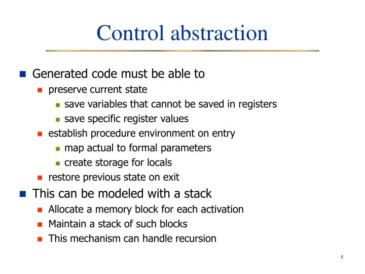 Control abstraction