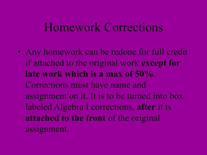 Homework Corrections