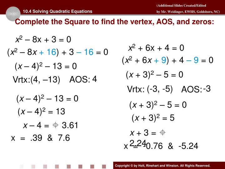 10.4 Solving Quadratic Equations