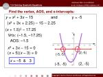find the vertex aos and x intercepts