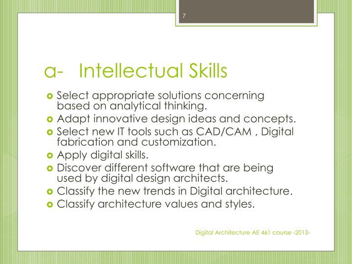 a-Intellectual Skills