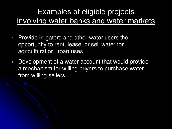 Examples of eligible projects