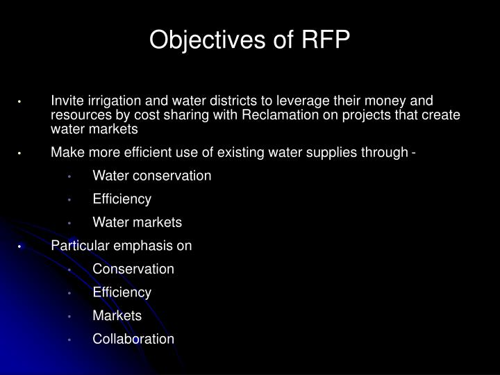 Objectives of rfp