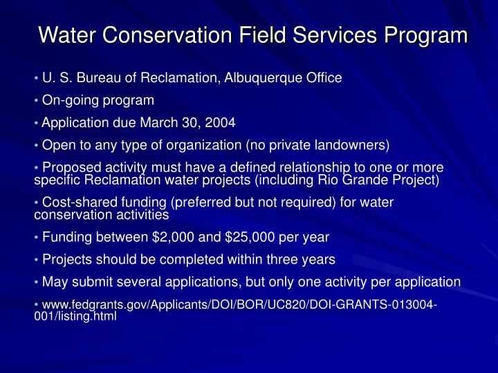 Water Conservation Field Services Program
