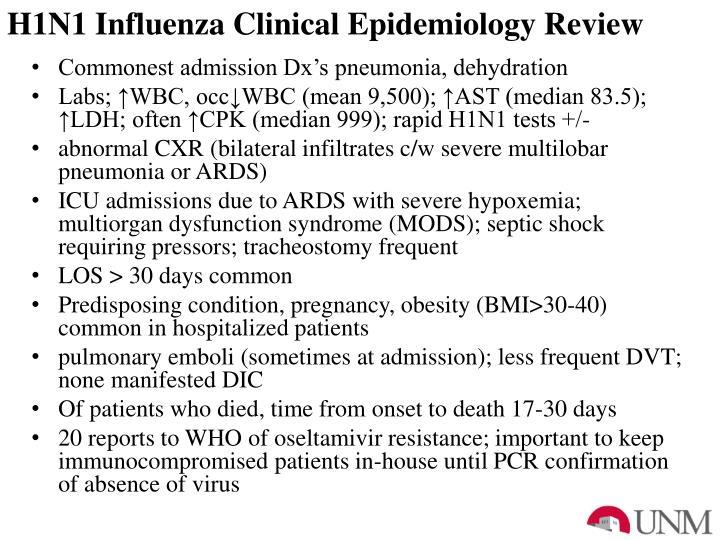 H1N1 Influenza Clinical Epidemiology Review