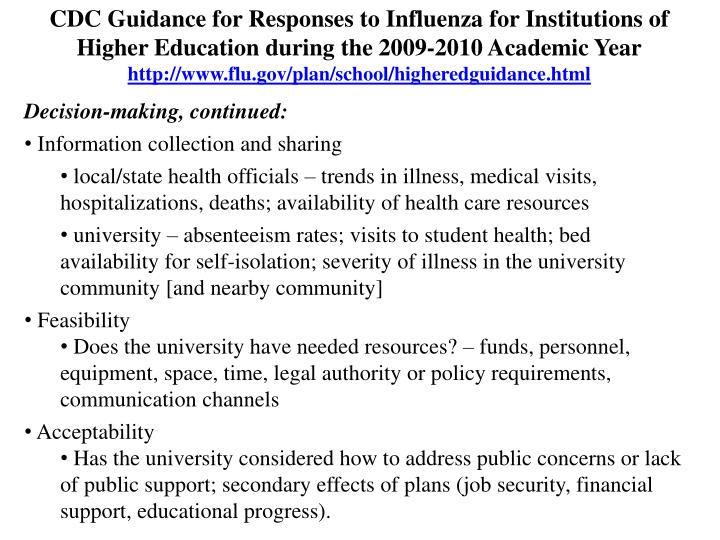CDC Guidance for Responses to Influenza for Institutions of Higher Education during the 2009-2010 Academic Year