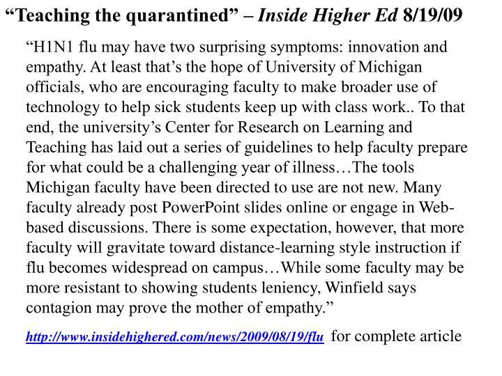 """Teaching the quarantined"" –"