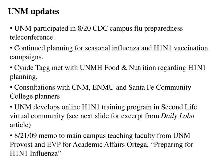 UNM updates
