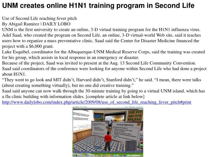 UNM creates online H1N1 training program in Second Life