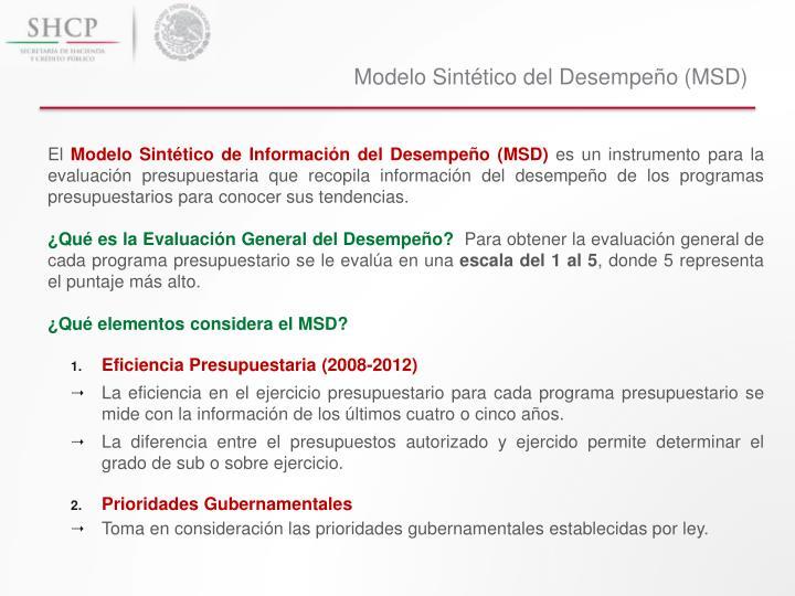 Modelo Sintético del Desempeño (MSD)